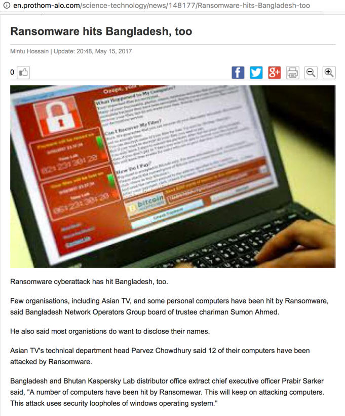 Ransomware hits Bangladesh, too