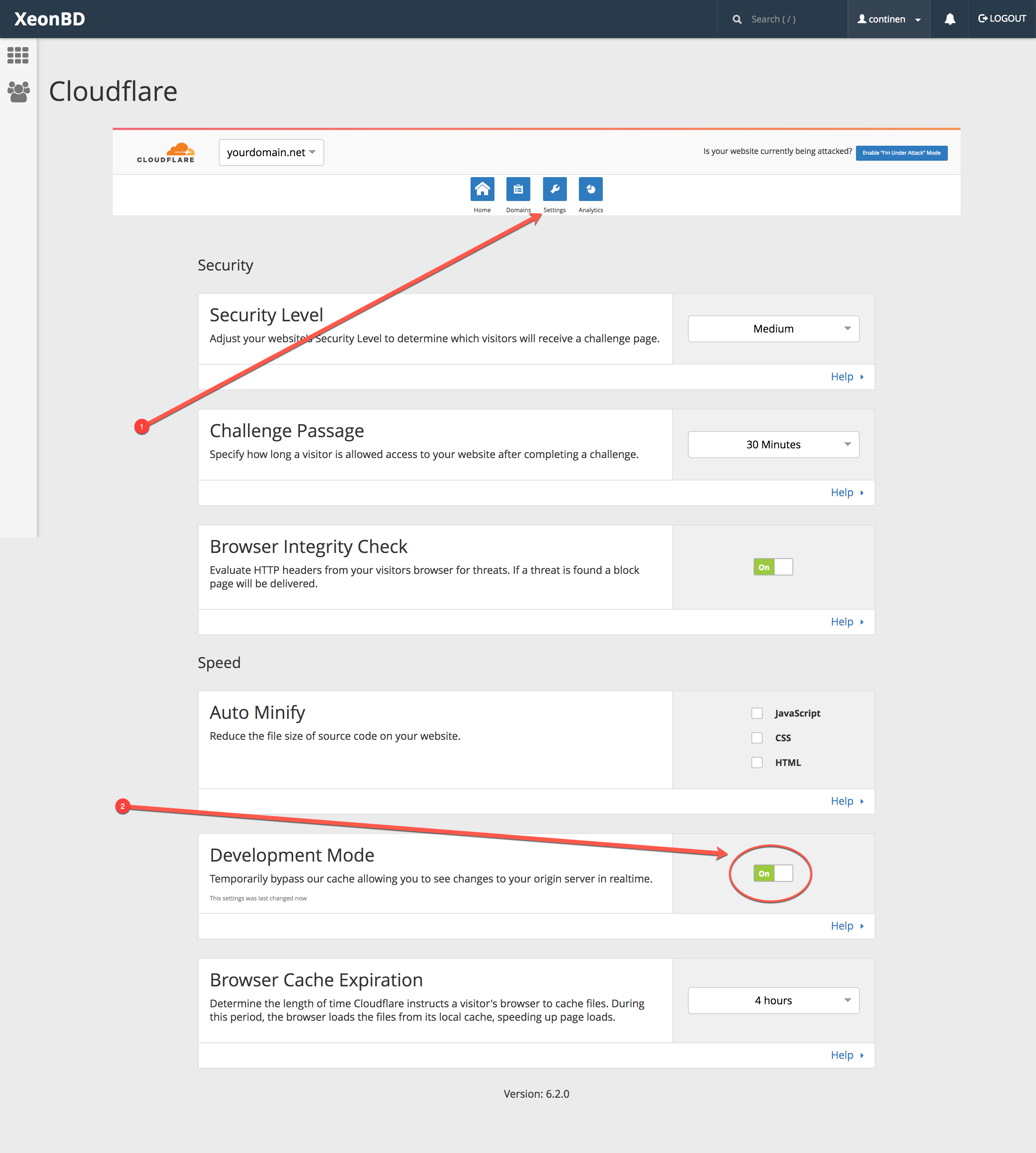 CloudFlare Development Mode Option in cPanel