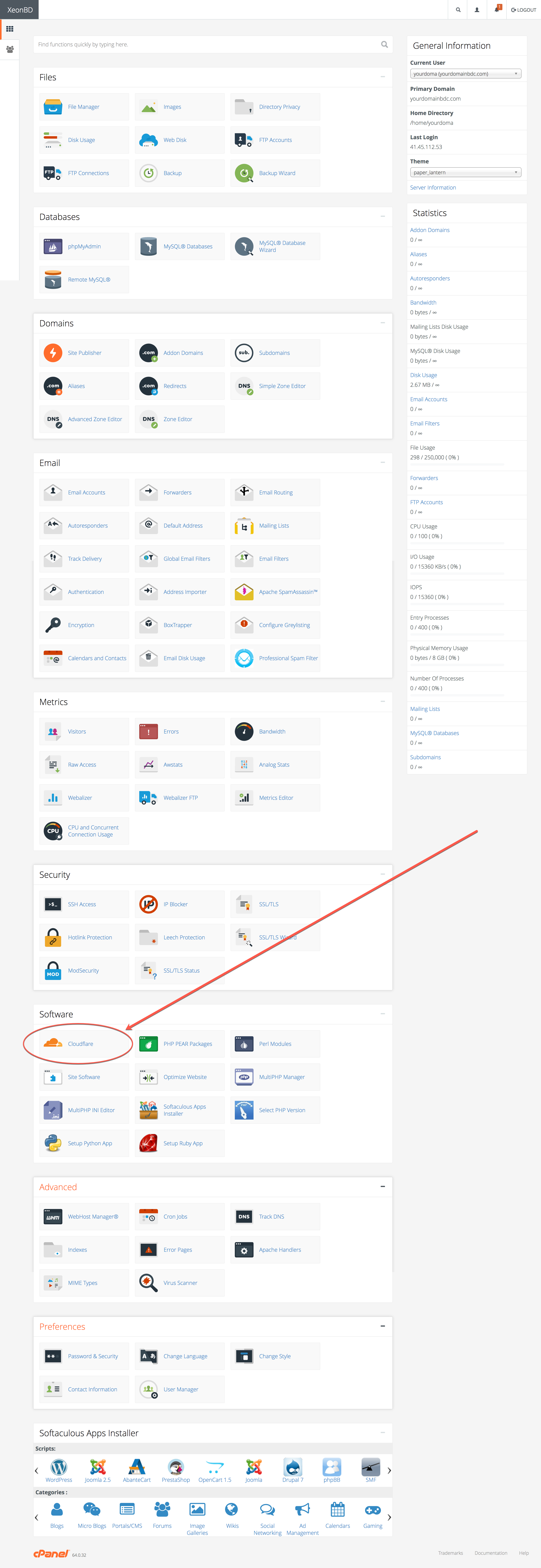 Find the CloudFlare Option within your cPanel